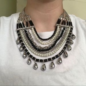 Statement Necklace - Black and Silver Punk Rock
